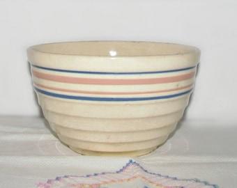 "Antique Yellow Ware Crock Bowl, E-1-7, Pink Blue Rings, Nesting Mixing Bowl, Circa 1930s Era, 7"" x 4.25"" High, Crockery Bowl, Probably McCoy"