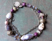 "Purple Bead Necklace / Mixed Stones / Lilac / Agate / Czech Glass / Pewter / Bead / Flower / Jasper / Shiny Gunmetal - 25"" long - N8"