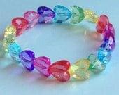 Rainbow Heart Gem Stretch Bracelet