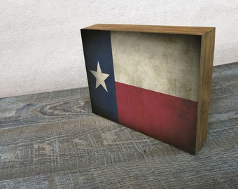 Texas Flag Art Mounted Print -  Wood Block Wall Decor