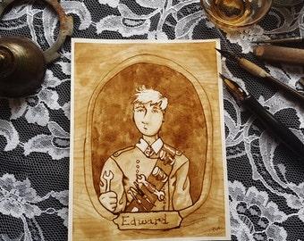 Cousin Edward - A Steampunk Family Portrait - Original Sepia Ink Art