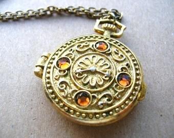 Avon Pocket Watch Locket Necklace - Pocket Watch Necklace - Pocket Watch Locket