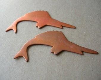 2 Copper Fish Blanks - Copper Swordfish Findings - Copper Blank for Enameling - Copper Enameling Blank - Copper Duck Blanks