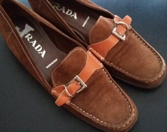 PRADA Vintage 90s Classic Brown Suede Flat Loafers Slip-on Shoes