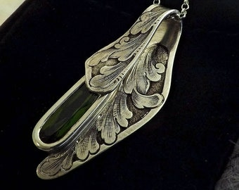 Hand Engraved Silver and Green Tourmaline Pendant