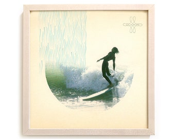 """Surfing Art Print """"His Mighty Downpour"""" - Mixed Media"""