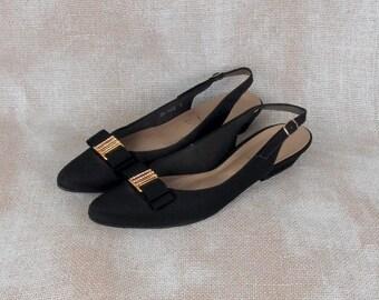 Vintage Pumps, Slingback Shoes, Slingback Sandals, Black Pumps, Evening Shoes, Diamond Shoes, Black Heels, Bow Shoes, Sexy Heels, Tafetta