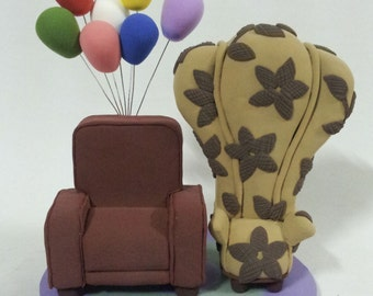 Carl And Ellies Chairs Air Balloons In UP Wedding Cake Topper Clay Doll
