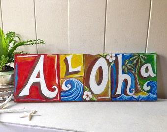 Aloha Giclée - beach, tropical, hawaiian wall decor sign