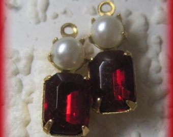 Ruby White Pearl Multi Stone 16MM Brass Swarovski Crystal Rectangle 1 Loop Charm Drop Connector