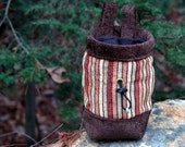 Chalkbag for Climbers and Boulderers, Russett, Tan, Gold, Celedon, Handstitched Top Collar, - Timbertown Stripe Design