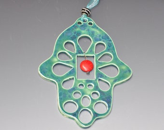 Ceramic Hamsa Hand wall hanging, Turquoise glaze and red bead, home décor, Holidays gift, wedding gift