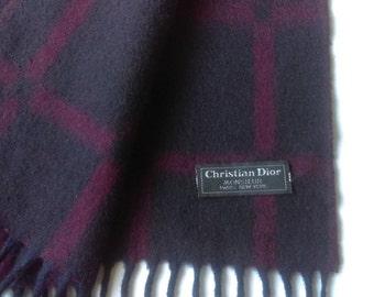 Christian Dior Wool Navy Wine Scarf