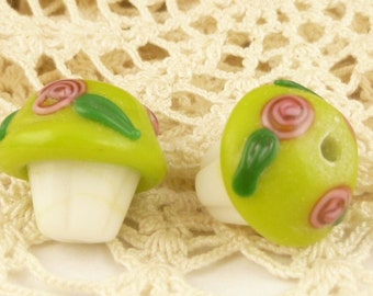Lime Green Frosted Cupcake Lampwork Glass Beads (2)