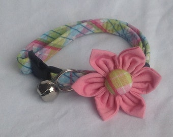 Cat Collar Flower Set - Pink And Green Plaid - Availlable In 3 Sizes