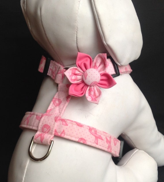 Dog Harness Flower Set - Breast Cancer Awareness - size XS, S, M