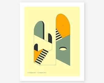 Giclée Fine Art Print, Minimal, Abstract, Surreal Wall Art, EMERGENCY EXITS 12