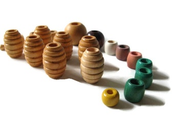 vintage supply, assorted wooden beads, macrame, jewelry, crafts