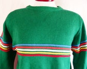 vintage 70's 80's Buffalo color block chest stripe green ski sweater white yellow blue red orange knit pullover jumper raglan large