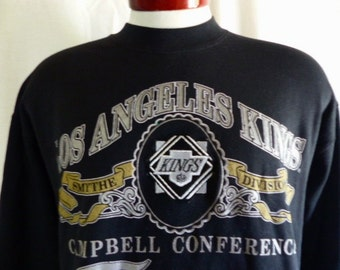 vintage 90s 1992 Los Angeles L.A.Kings NHL Hockey black fleece graphic sweatshirt silver gold logo Campbell Conference Smythe Division Large