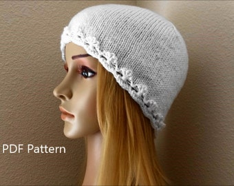 "PDF Pattern, How To Knit A ""Flowers in a Row"" Hat"
