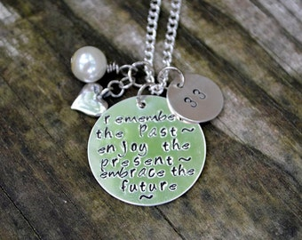 Teacher Retirement Necklace - Remember the Past, Enjoy the Present, Embrace the Future