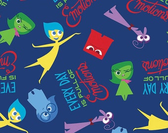 Fat Quarter Disney Inside Out Full of Emotions 100% Cotton Quilting Fabric