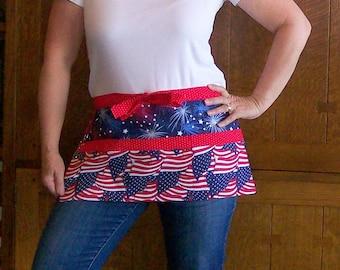 Flags and Fireworks Utility Vendor Apron - Waitress Tool Belt Apron - Teacher Apron One Size