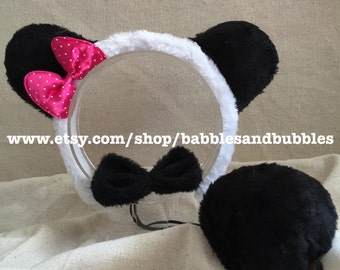 Comfortable Faux Fur Panda Ears Headband Halloween Costume - NEXT DAY SHIPPING