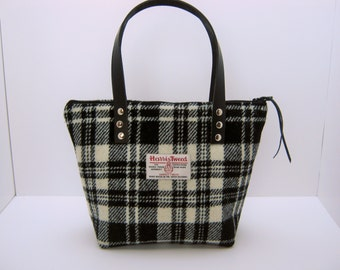 Black White check Harris Tweed Tote bag/ Handbag
