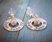 Personalized earrings, Sterling Silver Custom Made Hand Stamped Washer & Freshwater Pearl Dangle Earrings, Adult or Child, Ear Wire or Post