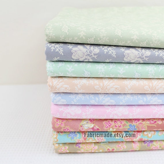 Pastel Flower Cotton Fabric - Classic White Antique Roses In Green Blue Yellow Pink - By A Half Yard
