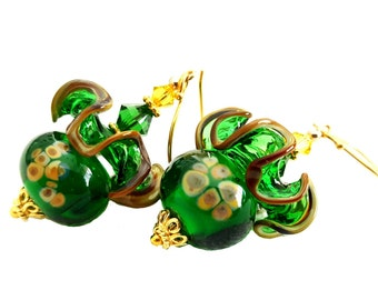 Emerald green lampwork earrings topped with perfectly matched ruffle glass bead, green and topaz Swarovski crystals, Vermeil