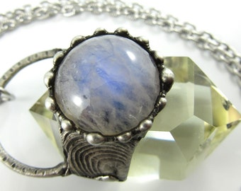 the sun and moon - moonstone & dt citrine crystal necklace