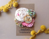 Rustic Country Big Sister Pin // Flowers, Lace, Burlap + Little Bird Brooch // Big Sister Button - Custom Made