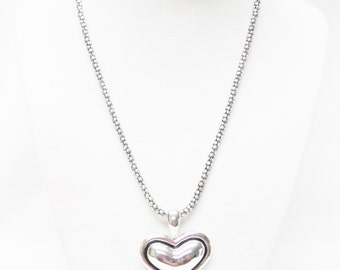 Silver Plated Puff Heart Pendant Necklace