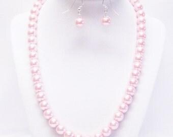 10mm Pink Glass Pearl Necklace/Bracelet & Earrings Set