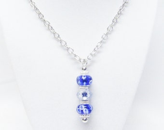 Blue Lamp Work Big Hole Bead Pendant Necklace