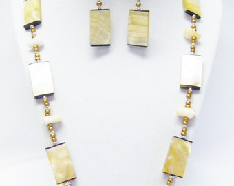 Flat Rectangle Amber Mother of Pearl Beaded Necklace/Earrings Set
