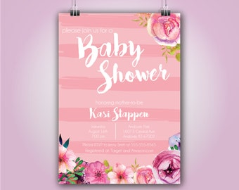 Pink Floral Baby Shower Invitation, 5x7, Girl