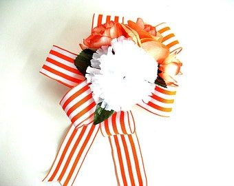 Orange and white floral gift wrapping bow, All Occasion silk floral bow, Special occasion bow, Feminine gift bow, Gift wrap bow, (GN93)