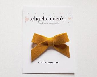 "SALE Baby / Girls Felt Bow Headband OR Hair Clip ""Mustard"" -Premium Wool Felt Bow by charlie coco's"