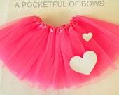 Valentine Tutu Skirt, Tutu Skirt with Glitter White Heart