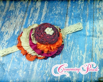 Orange, Raspberry, Beige Hair Piece, Tan, Plum Headband, Maroon Hair Accessory, Flower Hair Clip, Wine Hair Piece, Burgundy Hair Accessories