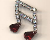 Vintage Silvertone Pin Musical Notes Clear and Ruby Crystals