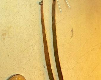 """Super long earrings minimalist drop dearrings, handmade copper with sterling ear wires,5 1/2"""" long"""