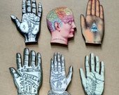 Set of 6 Laser Cut miniature Vintage Palmistry and Phrenology Images Fortune Telling Gypsy La Mano