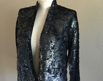 50s Fully Sequined Wet Look Rayon Knit Cardigan