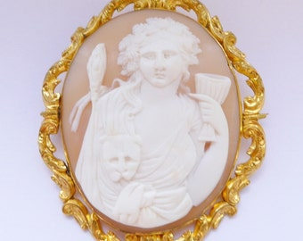 "Antique Shell Cameo Unusual Face On Of Dionysus, Georgian Or Earlier Very Large 2 3/4"" 1700's"