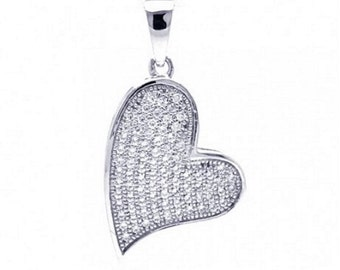 Sterling Silver Rhodium Plated Heart CZ Dangling Pendant #43
